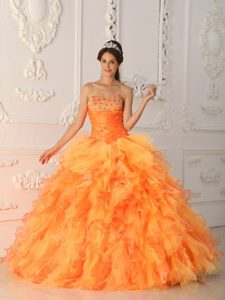 Timeless Ball Gown Sweetheart Beading Quinces Dresses in Organza in Orange Red