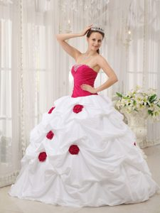 Necessary Hot Pink and White Strapless Long Quinceanera Dress in Taffeta