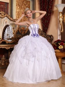 Most Recent White Ball Gown Strapless Quinceanera Dresses Gowns in Organza