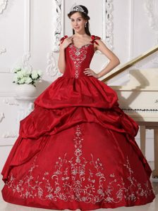Newest Wine Red Long Dresses for Quinceaneras with Embroidery