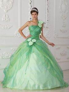 Hot Apple Green One Shoulder Dresses for Quinceaneras