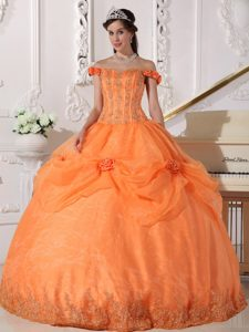 Popular Orange Off The Shoulder Sweet 16 Quince Dresses in and Organza