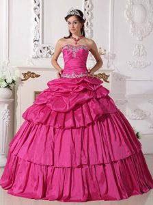 Exquisite Hot Pink Sweetheart Quinceanera Dress in with Beads and Ruche