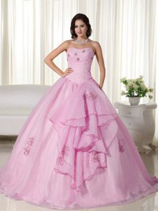 Svelte Baby Pink Strapless Quinceanera Gown Dresses in Organza with Embroidery