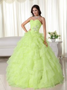 Delish Yellow Green Ball Gown Sweetheart Quinceanera Gown Dresses in Organza