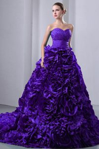 Attractive Purple Sweetheart Brush Train Ruching Quinceaneras Gowns in Taffeta