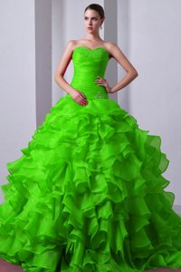 Tasty A-line Sweetheart Brush Train Organza Quinceanera Gown in Spring Green