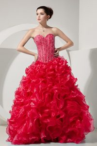 Up-to-date Coral Red A-line Sweetheart Quinceaneras Dresses in Organza to Floor