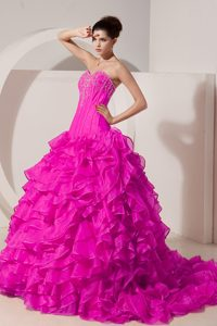 Upscale Hot Pink A-line Sweetheart Quinceaneras Dress in with Brush Train