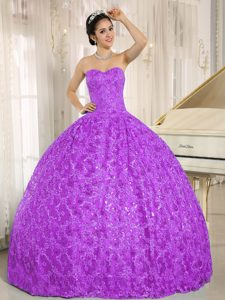Tulle Sweetheart Tony Quinceanera Dresses with Embroidery and Sequins in Purple