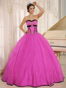 Turn Heads Fuchsia Sweetheart Beaded Lace-up Dress for Quinceanera in Organza