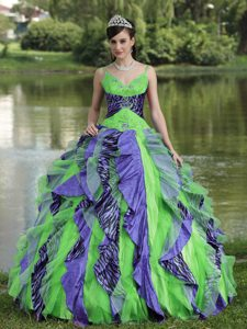 Luxury and Grace Colorful Organza Straps Dresses for Quinceaneras with Beading