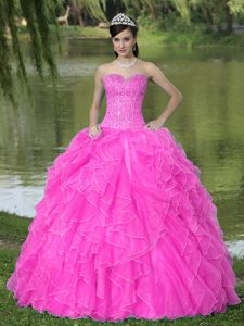 Sophisticated Beaded Ruffles Layered Sweetheart Dresses for a Quince in Hot Pink