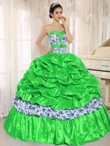 Beaded Spring Green Dress for a Quinceanera with Pick-ups in and Printing