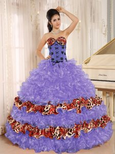 Purple Shimmery Leopard Lace-up Sweet Sixteen Dress with Ruffles and Appliques