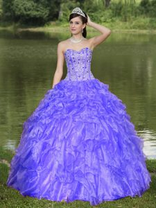 Stunning Blue Sweetheart Beaded Organza Quinceaneras Dress with Ruffled Layers