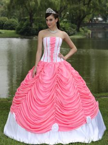 Poised Strapless Ball Gown Watermelon Red Quinceanera Dresses with Pick-ups