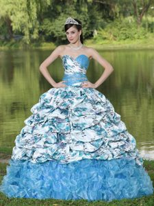 Beaded Quince Dresses in Colorful Printing and Organza with Pick-ups and Ruffles