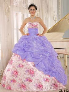 Bright Sweetheart Beaded Quinces Dresses with Pick-ups in Multi-color in Printing