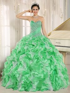 Wholesale Price Beaded Bodice Lace-up Quinceanera Dress with Ruffles in Green