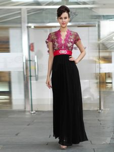 Short Sleeves Zipper Ankle Length Appliques and Ruching Prom Gown