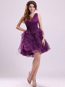 Floor Length Zipper Prom Gown Purple for Prom and Party with Ruffles