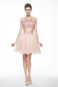 Peach A-line Scoop Sleeveless Chiffon Knee Length Backless Beading Prom Dress