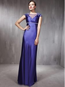 Glamorous Column/Sheath Party Dresses Purple Scoop Satin Sleeveless Floor Length Side Zipper