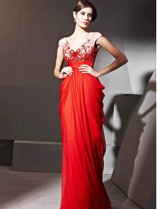 Gorgeous Red Zipper Prom Evening Gown Beading and Appliques and Ruching Cap Sleeves Floor Length