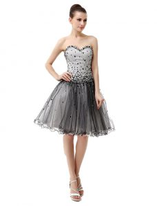Custom Made Organza Sweetheart Sleeveless Lace Up Beading and Ruffled Layers and Ruching Evening Dress in Black