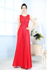 Scoop Red Sleeveless Ruching Floor Length Evening Dress