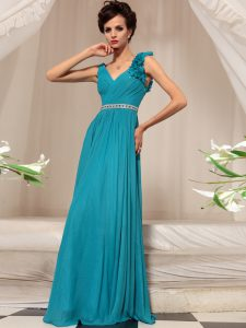 Custom Fit Teal Sleeveless Chiffon Side Zipper for Prom