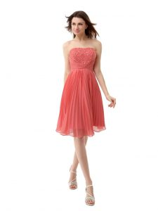Watermelon Red Zipper Strapless Beading and Pleated Prom Dress Chiffon Sleeveless