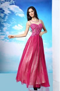 Scoop Sleeveless Floor Length Beading Side Zipper Homecoming Dress with Fuchsia