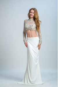 Smart White Long Sleeves Floor Length Beading Backless Formal Evening Gowns