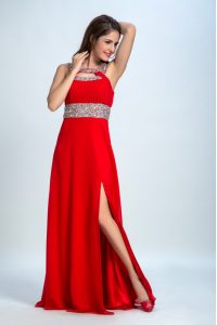 Exceptional Floor Length Red and Coral Red Party Dresses Straps Sleeveless Zipper