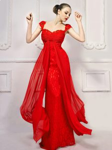 Eye-catching With Train Lace Up Dress for Prom Red for Prom and Party with Beading and Lace and Sashes ribbons Brush Tra