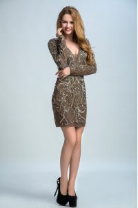 Sophisticated Long Sleeves Sequins Backless Mother Of The Bride Dress