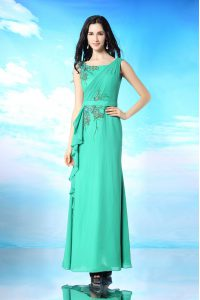 Charming Sleeveless Zipper Floor Length Beading and Appliques Prom Evening Gown
