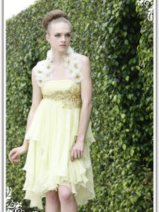 Smart Knee Length Light Yellow Mother Of The Bride Dress Organza Sleeveless Beading and Appliques