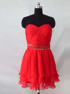Colorful Red Sleeveless Beading Knee Length Pageant Dress Womens