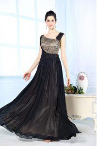 Black Side Zipper Asymmetric Beading Prom Dress Chiffon Sleeveless