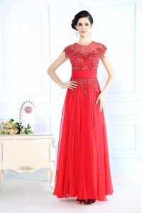 Scoop Floor Length Zipper Prom Party Dress Coral Red for Prom and Party with Beading