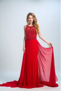 Scoop Sleeveless With Train Beading Side Zipper Prom Evening Gown with Red Court Train