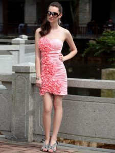 Fancy Rose Pink Chiffon Zipper Mother Of The Bride Dress Sleeveless Knee Length Ruching and Hand Made Flower