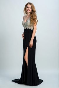 On Sale Black Prom Dresses Prom and Party and For with Beading Straps Sleeveless Brush Train Backless