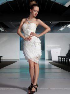 White Sleeveless Beading and Ruching Knee Length Pageant Dresses