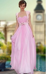 Classical Satin Sleeveless Floor Length Homecoming Dress and Belt and Hand Made Flower