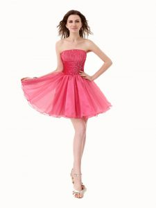 Pretty Hot Pink Sleeveless Beading Knee Length Evening Dress