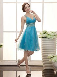 Aqua Blue Zipper Straps Beading Homecoming Dress Tulle Sleeveless